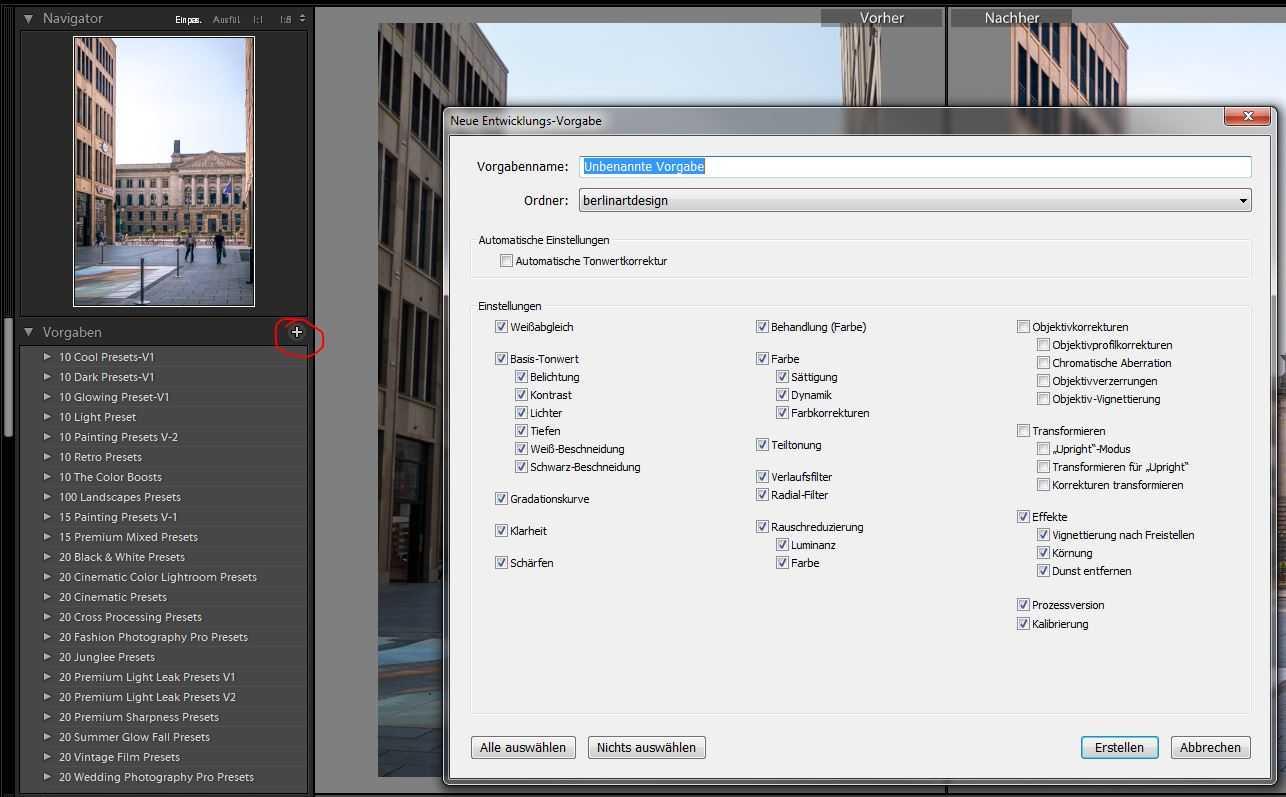 Adobe Lightroom Vorgaben